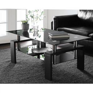 Merax Couchtisch Glasplatte Wohnzimmertisch Glastisch mit Ablage und Holzbeinen, Teetisch Kaffeetisch Sofatisch 100 x 60 x 45 cm, Schwarz