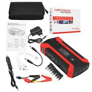 MECO 99900mAh Auto Starthilfe Autostarthilfe Notbatterie-Booster Power Bank Ladegerät Starthilfekabel 4 in 1 USB-Kabel