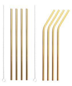 8-tlg Edelstahl Strohhalme Metall Trinkhalme Straw Reinigungsbürstet,Gold