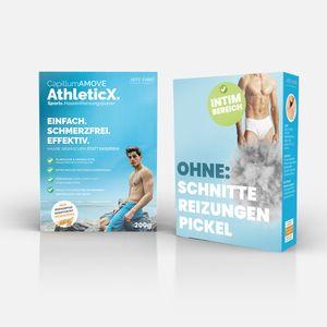 200g Capillum AMOVE AthleticX (Geruchlos) Premium Intim & Körper Enthaarungscreme als Pulver ohne Schmerzen und Reizungen für glatte Haut