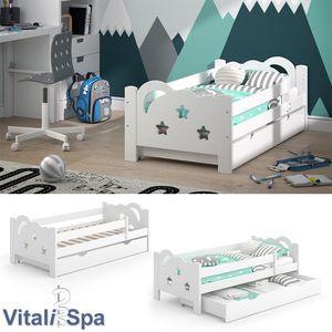 VitaliSpa Kinderbett Sari 140x70cm weiß mit Schubladen Jugendbett Rausfallschutz