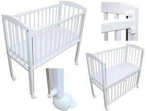 Beistellbett Babybett 90x40 cm mit Matratze und Räder höhenverstellbar weiss