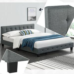 Juskys Polsterbett Manresa 140 x 200 cm - Bett Komplett-Set mit Matratze, Lattenrost und Kopfteil - Zeitloses modernes Design, Grau