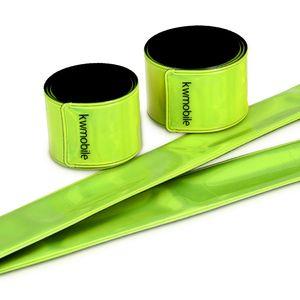 kwmobile 6x Reflektorband - Reflektierendes Band Schnapparmband Set - Reflektor Sicherheitsband EN13356 für Kinder Arm Bein Joggen
