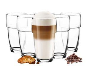 6 stapelbare Latte Macchiato Gläser 300ml + 6 Löffel Kaffeegläser Cappuccino- Teegläser