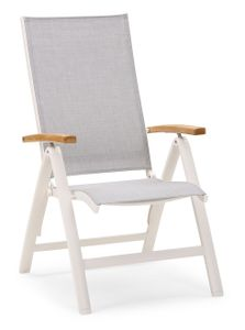 Best Alu-Klappsessel Cavalese H 110 x B 62 x T 67 cm, Sitztiefe 48 cm, mehrfach verstellbar, Armlehne aus Teakholz, Farbe Weiß