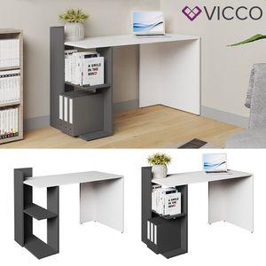 Vicco Schreibtisch THEO Weiß Anthrazit Arbeitstisch Bürotisch Regal PC Tisch