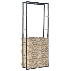 Brennholzregal Schwarz 80×25×200 cm Stahl
