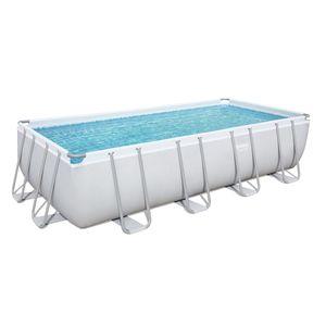 Power Steel™ Frame Pool Komplett-Set, eckig, mit Sandfilteranlage, Sicherheitsleiter & Abdeckplane 488 x 244 x 122 cm