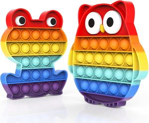 2 Stück / Set Push Bubble Sensory Fidget Toy, Stressabbau Besondere Bedürfnisse Stilles Klassenzimmer (Regenbogenfrosch und Eule)