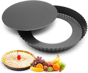 Tarteform, Quicheform, Köstlichen Obstkuchenform 28 cm, Backform mit Hebeboden, Wellenrand, Antihaftbeschichtet, Schnittfest, Rund, Blech