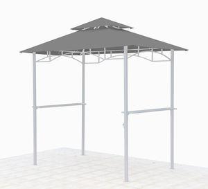 Grasekamp Ersatzdach für BBQ Grill Pavillon  1,5x2,4m Grau Unterstand Doppeldach  Gazebo