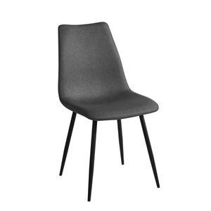 SVITA 2er Set Esszimmerstühle Stuhlgruppe Metallbeine Polsterstuhl Küchenstuhl Konferenzstuhl Polyester Dunkelgrau