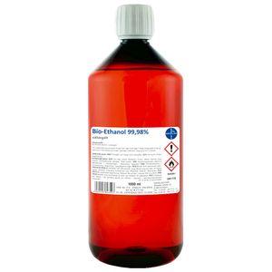 Kamin-Ethanol 99,98% Alkohol-Gehalt, wasserfrei I 1000 ml I Bioethanol