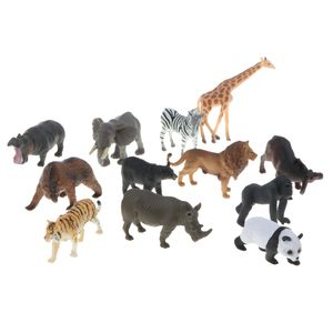 12-Pack Kunststoff Wildtier Zoo Tiere Figure Spielzeug für Kinder, Inkl. Tiger, Löwe, Elefant, Panda, Giraffe, Zebra, Gorilla, Nilpferd usw.