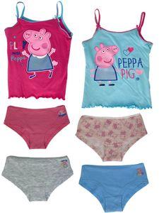 Peppa Wutz - Mädchen Unterwäsche-Set Peppa Pig - 2x Unterhemden + 4x Unterhosen in pink/blau - , Größe:98/104