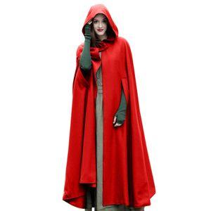 Beilaeufige Frauen-Winter-Umhang mit Kapuze aermellose Knopf-Verschluss-langes Umhang-Kostuem Cosplay Mantel, Rot L