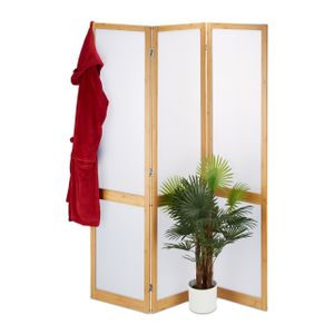 relaxdays 3-teiliger Paravent aus Bambus