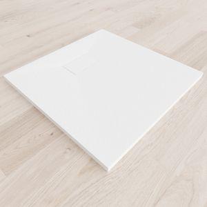 i-flair - SMC Duschwanne 80x80 cm mit anti-rutsch Oberfläche in weißer Steinoptik inkl. Ablaufgarnitur
