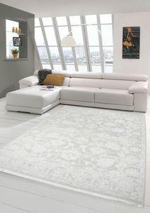 Vintage Teppich modern Wohnzimmerteppich Designteppich mit Fransen in Creme Größe - 80x150 cm