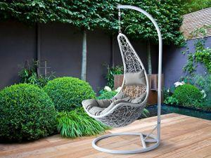 Mirjan24 Hängesessel Boho, Stilvoll Hängestuhl, Gartensessel mit Stahlskelett, Hängekorb (Farbe: Weiß, Kissen: Grau)