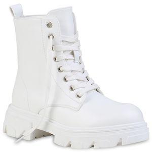 VAN HILL Damen Stiefeletten Leicht Gefütterte Schnürstiefeletten Schuhe 835790, Farbe: Weiß, Größe: 39