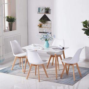 Futurefurniture®Esstisch weiß , Holz, rechteckig, HxLxB: 72 x 120 x 80 cm, Beine natur, Gummi Untersetzer weiß
