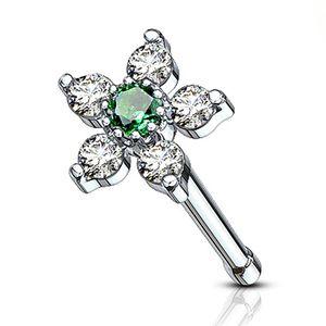 Nasenpiercing Stecker Blume Blüte Nasenstecker Stift Nasen Piercing Zirkonia Kristalle Autiga® silber-grün