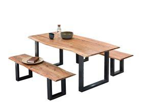 SIT Möbel Esstisch-Set 3-tlg. | 1 Tisch, 2 Bänke | Platten Akazie natur | Gestell Stahl antikschwarz | B 0 x T 0 x H 0 cm | 18007-00 | Serie TOPS & TABLES
