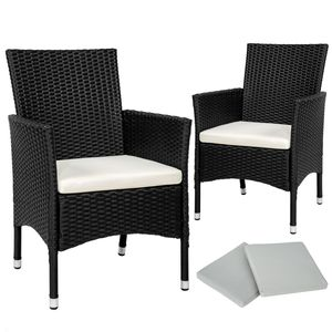 tectake 2 Rattansessel inkl. 4 Sitzbezüge - schwarz