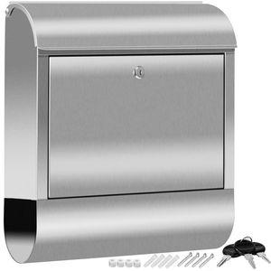 KESSER® XXL Briefkasten Edelstahl mit Zeitungsfach , gebürstet , 3x Schlüssel abschließbar , Pulverbeschichtet , Wandmontage , groß Front-Einwurf: DIN C4 = DIN A4  , inkl. Montagematerial, Farbe:Silber