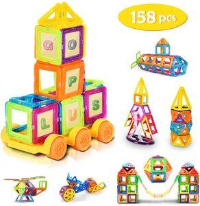 GOPLUS Magnetische Bausteine 158 Teile Bauklötze Magnete Bauklötze Konstruktion Blöcke Bausatz Pädagogisches Spielzeug Set Kreative Spielzeuge DIY 3D