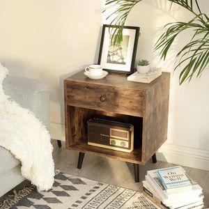 VASAGLE Nachttisch mit Schublade und offenem Fach, Kleiner Beistelltisch, Beine aus Kiefernholz, 50 x 40 x 58 cm, Holzoptik, Vintage, Dunkelbraun LET71BX