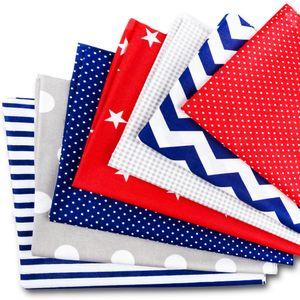 Baumwollstoff meterware Stoffpaket 7 Stück je 50x80cm - Stoffe zum Nähen patchwork stoff paket Stoffreste nähstoffe Baumwolle  grau-rot-blau