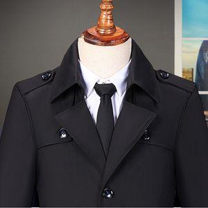 Lässige Trenchcoat-Mode für Herren Langer, schmaler Mantel Jacke Outwear Größe:7XL,Farbe:Schwarz