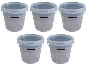 5 x 20 Liter Eimer mit Deckel transparent, stapelbarerer Milch-/Vorratseimer, Honigeimer Kunststoffeimer mit Lebensmittelfreigabe, Lebensmittelechte Behälter, Leereimer für Mehl, Wassereimer, 5 Stück