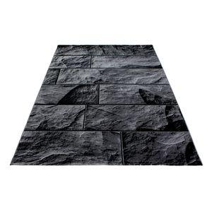 Design Kurzflor Teppich Stein Mauer Look Wohnzimmer Grau Schwarz meliert, Grösse:160x230 cm