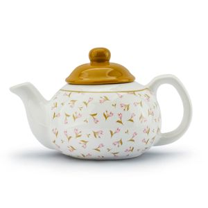 TEEKANNE Keramik mit Deckel Gemustert Weiß KAFFEEKANNE Teekessel 0,8 L