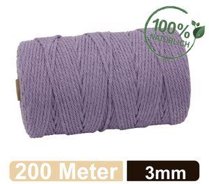 Makramee Garn - 200m (Stärke: 3mm) - Gezwirntes Baumwolle Garn - Hochwertiges, supersoftes Luxus Garn - lila/purple