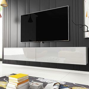 Selsey - Fernsehschrank / TV-Lowboard KANE hängend/stehend in Weiß mit Hochglanzfronten, 180 cm