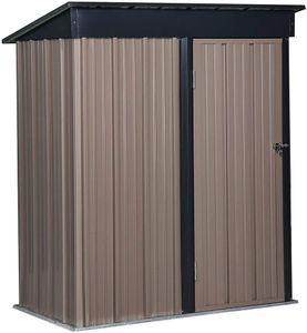YOLEO Gerätehaus Metall, Geräteschuppen mit Pultdach, Gartenhaus für Werkzeug, 154.5x88x181cm