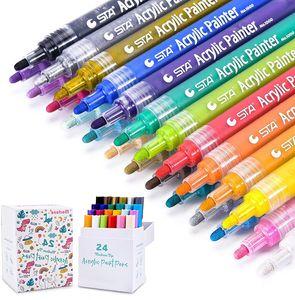 Morfone Acrylstifte Marker Stifte, Set mit 24 Farben Acrylfarben Marker auf Wasserfest für Felsmalerei, Leinwand, Fotoalbum, Heimwerken, Schulprojekt, Glas, Keramik, Holz, Metall