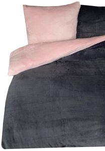 Teddy Plüsch Bettwäsche Uni Wende 135x200 + 80x80 cm Rosa Anthrazit , 4 teilig
