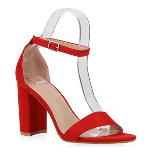 Mytrendshoe Damen Sandaletten Riemchensandaletten Blockabsatz Party High Heels 832747, Farbe: Rot, Größe: 38