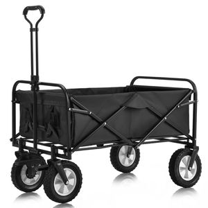 Merax Bollerwagen Faltbar Handwagen mit Doppelbremssystem, Faltbarer Bollerwagen Transportwagen 360 ° drehbar belastbar bis 100kg,schwarz