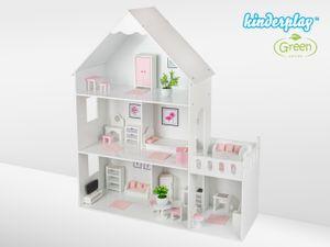 Kinderplay großes hölzernes Barbie Puppenhaus - Puppenhaus Holz version mit rosa Zubehör, 38 Zubehörteile enthalten, Barbiehaus aus Holz, modell GS0023B, LED-Licht