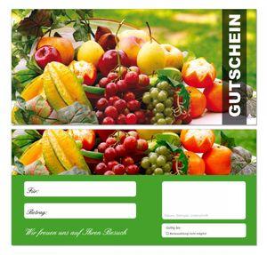 20 Stück Premium Geschenkgutscheine (Obst-670) - Ein schönes Produkt für Ihre Kunden Gutscheine Gutscheinkarten für Bereiche wie Gastronomie, Restaurant, Catering, Obsthandel, Großhandel, Freizeit, Feier, Geschenk, Gaststätte und vieles mehr