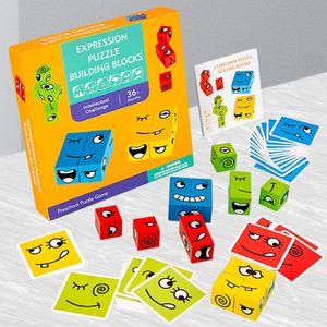 Holzwürfel Spielzeug, Zauberwürfel-Bausteine, Spielzeug Gesicht ändern Würfel, Montessori Holz-Herausforderung, Denk-Training Lernspielzeug, Geschenk für Kinder Vorschule