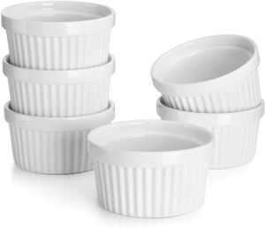 6er Set Soufflé Förmchen, 150 ml, Creme Brulee Formen aus Porzellan, Förmchen für Muffins, Cupcakes
