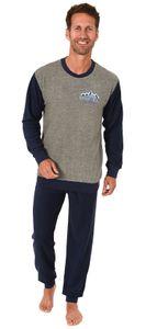 Herren Frottee Pyjama langarm Schlafanzug mit Bündchen  - 291 101 13 573, Farbe:anthrazit, Größe:54